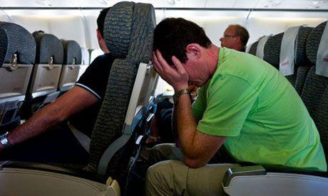 Worried Man in a Plane